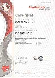 Motoron s.r.o. [certifikát ISO 9001-2015]