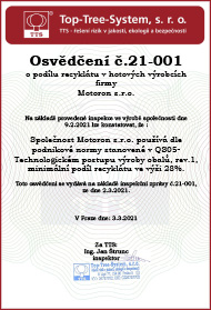 Motoron s.r.o. [Osvědčení č. 21-001]